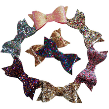 2pcs/Lot, 10color 2.8inch Glitter leather hair Bow Clips, Bow Hair Clips, bow tie, hair accessories