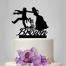 "Personalized ""Escape Groom"" Cute Bride and Groom Toppers Couple Figurine Wedding Funny Cake Topper for Wedding Cake Accessories"