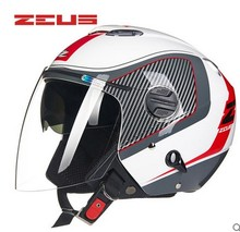 ZEUS 202FB Open face motorcycle helmet, Free shipping, Removable washable check pads, Inner & outer sun visor, ECE approved