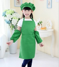Hot Sale 1 PCS Children Apron Kit Bowknots Apron Big Pocket Design 6 Colors Kitchen Cooking Apron tablier cuisine enfant