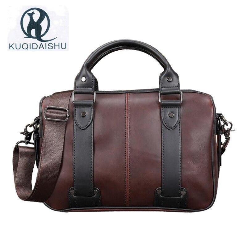 Vintage Crazy Horse Leather Laptop Handbag MenS Business Crossbody Bag Casual Messenger Shoulder Bags For Men Travel Bag<br>