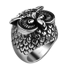 R106 2015 fashion design retro punk style stainless steel men's pretty cool owl ring jewelry factory price good match