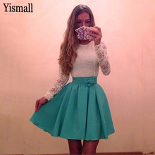 Yismall 2017 women Autumn fashion A-Line dress long sleeve O-Neck Sexy Party dress white lace patchwork dress A-Line Vestidos