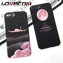 Lovely Cartoon Aircraft Stars Phone Case For iphone 6 6S 7 7 Plus Hard Matte Plastic Cool Planet Moon Universe Back Cover Coque