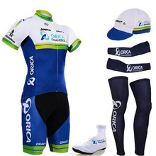 HOT pro ORICA team cycling full set 6pcs cycling jersey set men's jersey with hat sleeves leg warmer shoes cover