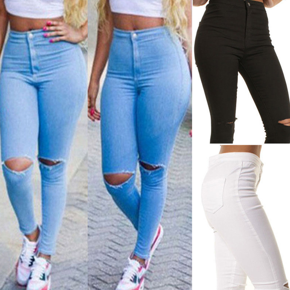 Sexy Women Denim Skinny Pants High Waist Hole Stretch Trousers Slim Pencil JeansОдежда и ак�е��уары<br><br><br>Aliexpress