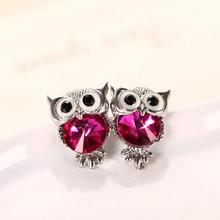 H:HYDE Brand Jewelry Crystal Owl Stud Earrings For Women Vintage 11 Colors Animal Statement Earrings Brincos(China)