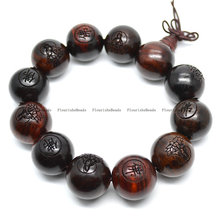 5pc Natural Red Sandalwood Carved Buddha Wood Round Beads Mala Man's Bracelets Buddhist Jewelry