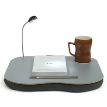 New Portable Laptop Desk Bed Laptop Cushion Knee Lap Computer Reading Table Tray Cup Holder New Laptop Stand With LED Lamp(China)