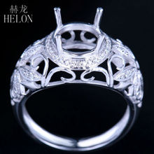 HELON Solid 10K White Gold 7mm Round Semi Mount Flowers Diamonds Ring Fine Jewelry Anniversary Party Engagement Wedding Ring(China)