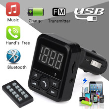 2017 Top sale New Wireless Bluetooth LCD FM Transmitter Modulator USB Car Kit MP3 Player SD Remote Car Charger 5V/1A for Samsung