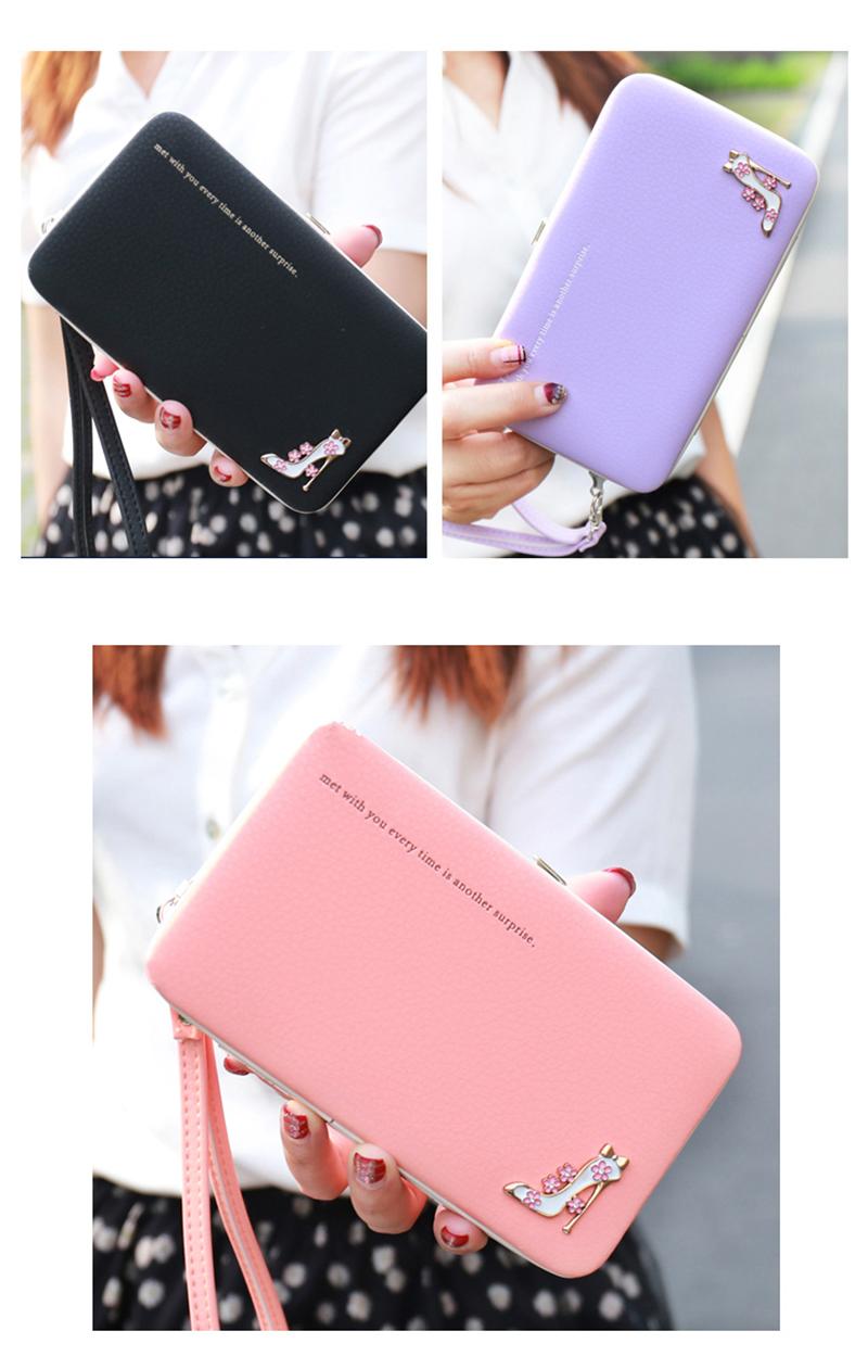 Leather Wallet Women Purse Phone Bag Case (6)