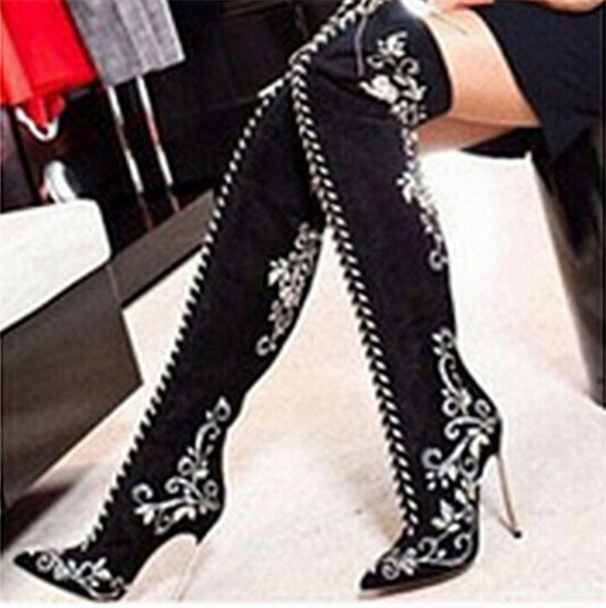 Sexy Pointed Toe Embroidered Lace Up Thigh High Boots High Heels Red Black Blue Suede Women Winter Boots Shoes Woman Botas Mujer (16)