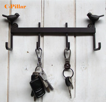 2015 Durable Iron Metal Wall Key Hook Holder Home Decor Vintage Brown Birds Hooks Hanger for Keys  Anzol Stocked