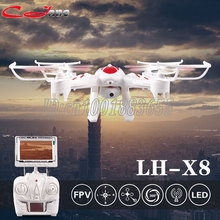 Free shipping LH-X8DV RC Quadcopter 2.4GHz 4CH 6-Axis Helicopter 3D Flip One Key Return Drone with FPV Camera Cool LED Light