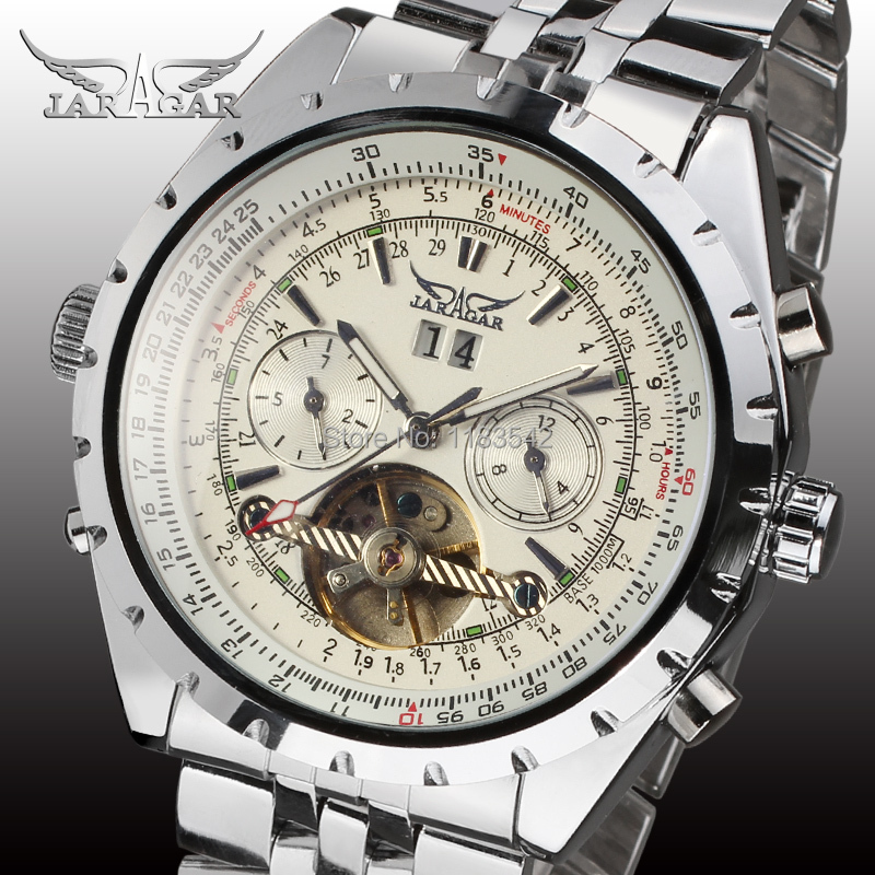 Jargar  new Automatic men wristwatch with silver brass band free shipping JAG212M4S4<br>