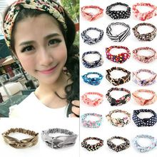Retail Wholesale Hot Women Girl Yoga Elastic Turban Floral Twisted Knotted Headband Hair Band(China)