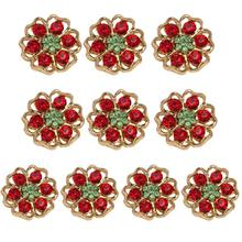 10pcs Gold Outline Red Rhinestone Buttons Round Ribbon Slider Wedding Embellishment Buckles DIY Jewelry Clothing Accessories