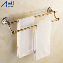 AP1 Series Antique Brass Brush Porcelain Base Wall Mounted Bathroom Accessories Double Towel Bar Towel Rack(China)
