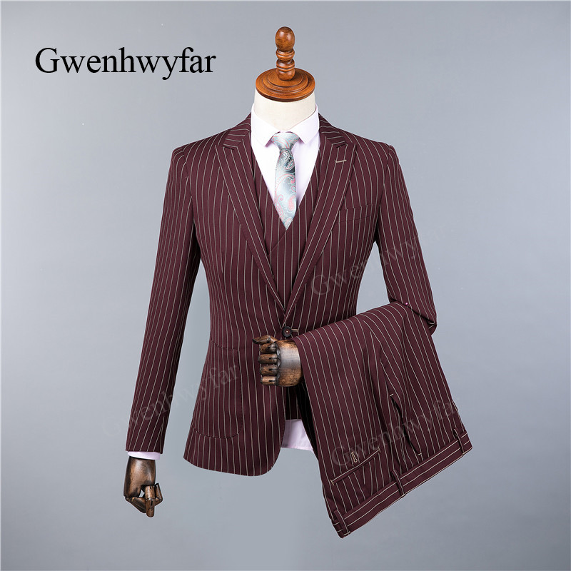 Gwenhwyfar Burgundy Red Suit Mens High Quality 2018 Slim Fit Peak Collar Men Suits For Wedding Fashion Stripe 3 Piece Prom Suits