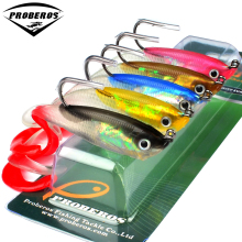 "5PCS Soft Bait with JIG Hook 5 Color Fishing Lure 10cm-3.9"" Fishing Bait 14.7g-0.52oz Fishing Tackle with Lead Fishing Soft Lure(Hong Kong)"