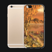 Canada Jasper National Park Flower Oil Paingting For iPhone 6 6s 7 Plus Case TPU Phone Cases Cover Mobile Protection Decor Gift