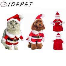 Christmas Cat Clothes Pet Dog Cat Costume Santa Claus Costume Winter Christmas Pet Coat Apparel Cotton Clothes for Cat dog 27S2
