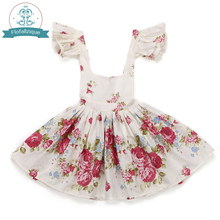Rose Floral Printed Baby Girls Dresses 2017 summer Brand Princess Dress Casual Costume Kids Clothes Toddler vintage frocks(China)