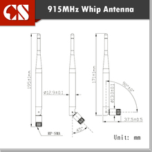 free shipping 2pc 915MHz Flexible Whip antenna, RP-SMA(M) inner hole,915MHz 3dBi Omnidirectional Outdoor Antenna