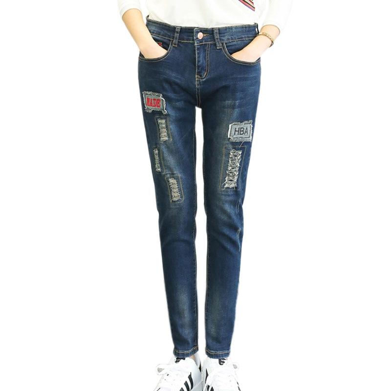 Elastic Winter Plus Velvet Boyfriend Ripped Jeans For Women Skinny Jeans Plus Size 5XL Pencil Jeans Female Denim Pants FittnessОдежда и ак�е��уары<br><br><br>Aliexpress