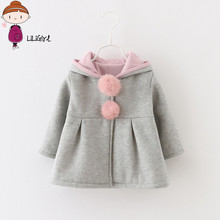 2017 Spring and Autumn Baby Girls Jacket Infants Ball Cute Rabbit Hooded Princess Jacket Coats Outwears Christmas Gifts Roupas 2(China)