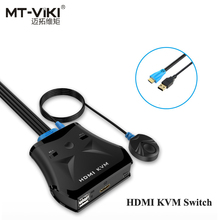 MT-VIKI Manual 2 Port HDMI USB VGA KVM Switch Converter with Wired Remote Desktop Switcher Cable Extension Line Hotkey MT-201HL(China)