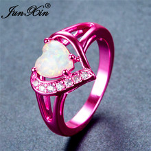 JUNXIN Cute Heart White Fire Opal Rings For Women Vintage Pink/Green/Blue Gold Filled Zircon Ring Fashion Jewelry Christmas Gift(China)