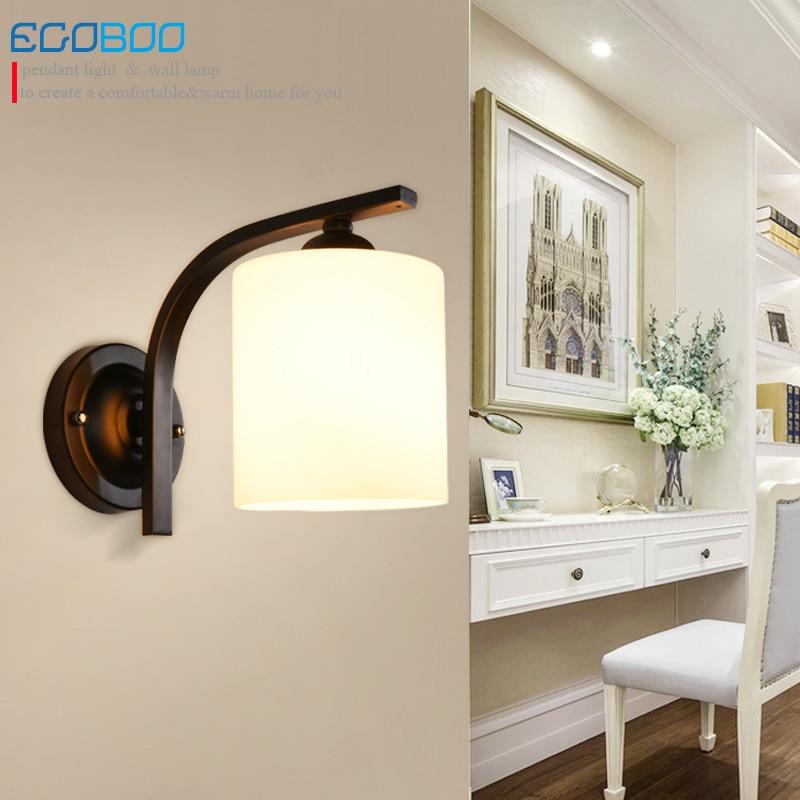 NEW Style Glass simple modern style black wall lamps Indoor bedroom bedside lamp corridor balcony lighting fixtures