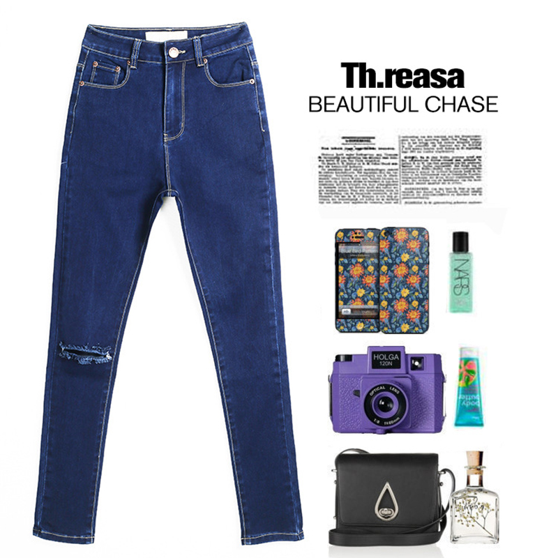 New Hot Jeans Woman High Waist Jean Pants Woman Fashion Ripped Jeans for Women American Apparel Jeans Femme Beading Holes PantОдежда и ак�е��уары<br><br><br>Aliexpress