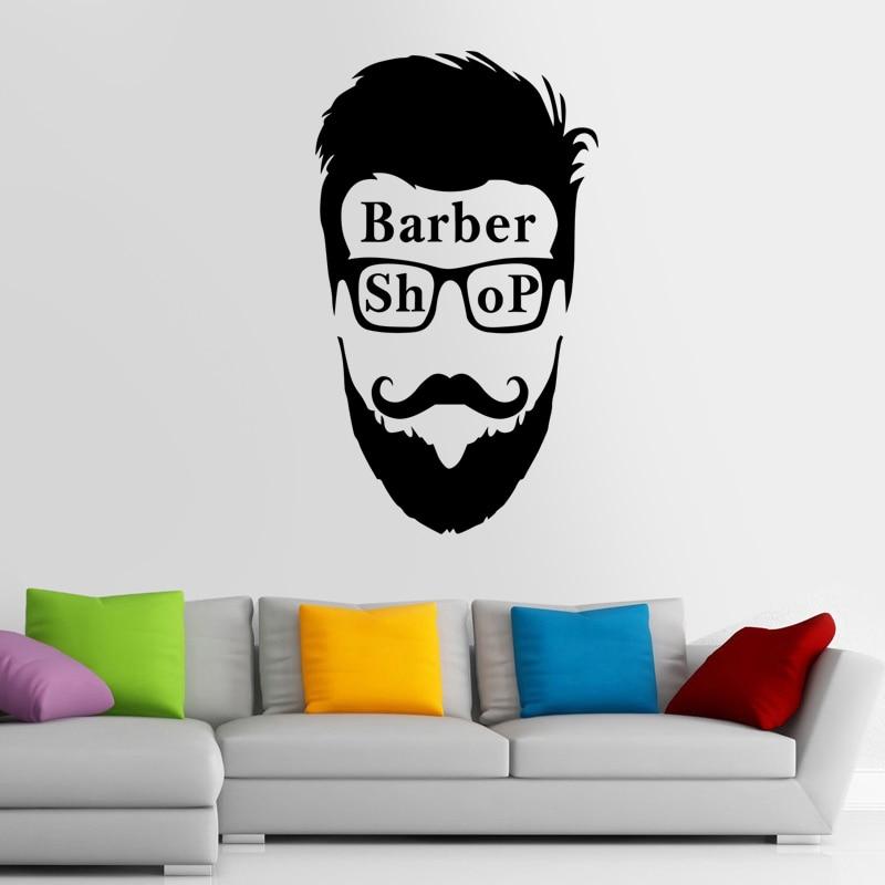 Man Barber Shop Sticker Name Chop Bread Decal Haircut Shavers Posters Vinyl Wall Art Decals Decor Windows Decoration Mural Ml025
