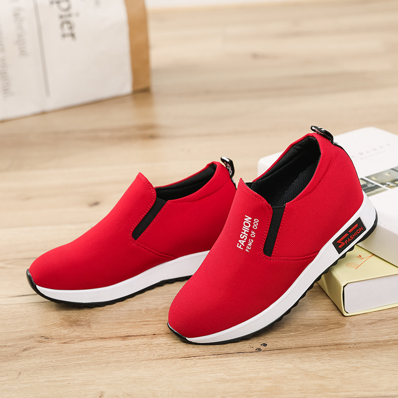 SWYIVY shoes sneakers women hide wedge chunky sneakers for women 2019 new spring shoes casual female black/red sneaker size 40
