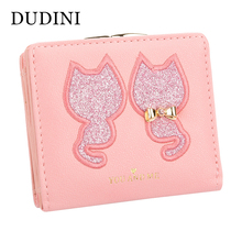 DUDINI PU Leather Women's Wallet Short Section 2 Fold Solid Color Womens Wallets Lovely Embroidery Cat Pattern Small Wallet