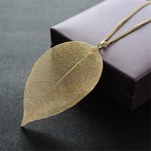 New Arrival Unique Golden True Leaves Necklace Fashion Brand Maxi Long pingente Real leaves of material necklaces & pendants(China)