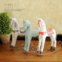 Hot sale 3pcs/lot New Year gift wood horse rocking horse birthday present home decoration Free shipping(China)