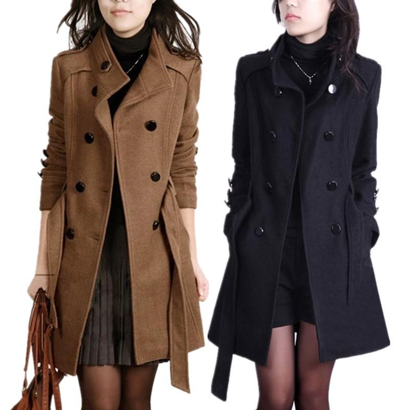 2016 New Women Trench Woolen Coat Winter Slim Double Breasted Overcoat (1)