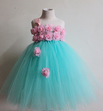 Baby Girl Easter Tutu Dress Mint Green with Pink Rose Girl Flower Dreas  Birthday Wedding Party Tutu Dress For Baby Girl