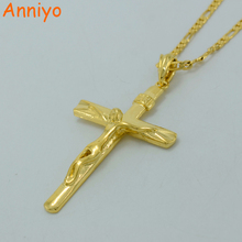 Anniyo Cross Pendant Necklaces fo Women/Men INRI Juses Crucifix Christianity Jewelry Gold Color INBI Jesus of Nazareth #092106(China)