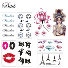 Bittb 5 Sheets Animal Fake Tattoo Waterproof Sexy Temporary Tattoos Sleeve Women Removable Body Tattoo Stickers Paste Pattern(China)