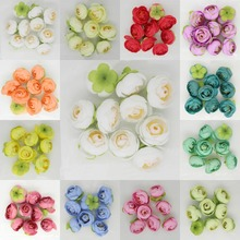 20pcs 4cm DIY Flowers Artificial Silk Tea Rose Bud Flower Heads For Wedding Kissing Ball Party Home Decor Outdoor Party Favors