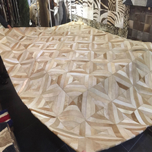 Light Brown Original Cow Hide Patchwork Area Rug(China)