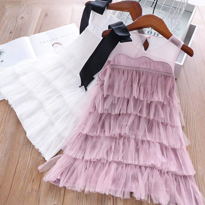 EverweekendBaby Tassels Bow Princess Pretty Girls Cake Layered Dress Elegant Western Party Summer New Kids Fashion Ruffles Dress