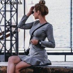 Женское замшевое платье с оборками