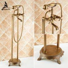 Bathtub Faucet Solid Brass Luxury Floor Standing Bathroom Bathtub Faucet Antique Dual Handle with Handheld Shower Crane HJ-6051(China)