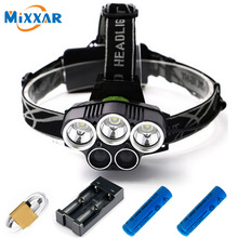 ZK20 LED Headlamp 3 XML-T6 White 2 XPE Blue Head Flashlight Torch Head Lamp Fishing Lights Headlight with 18650 Battery Charger